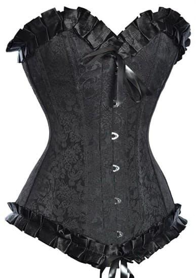 Жаккардовый удлиненный черный корсет с рюшами - фото 12568