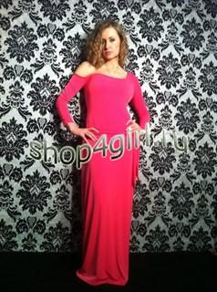 """Розовое платье """"Кристалл"""" с открытым плечом из микромасла"""