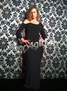 """Черное платье """"Кристалл"""" с открытым плечом из микромасла"""