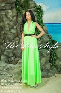 Салатовое шифоновое платье с открытой спиной
