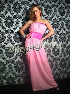 Розовое прямое шифоновое платье с широким поясом