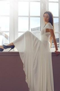 Платье трансформер из белого масла. Юбка полусолнце с разрезом