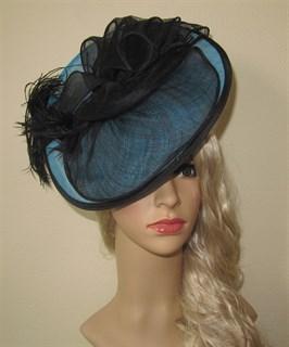 Голубая плетеная шляпка с черным бантом Валери