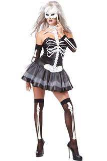 Костюм скелета платье с гетрами и перчатками