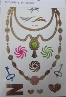 """Металлическое цветное тату """"ожерелье"""" AS-007"""