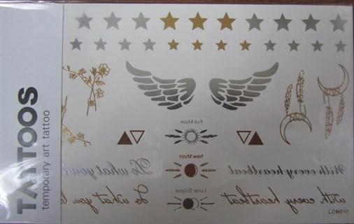 """Золотые тату """"крылья со звездами"""" ZCM-010"""
