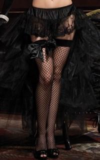 Кружевная мини юбка с длинным хвостом из сетки. Черный
