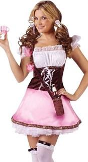 Розовая баварка с коричневым корсажем