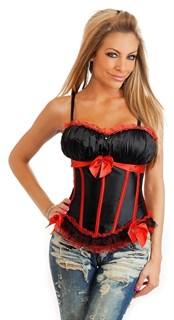 Черный корсет с чашками с красным декором