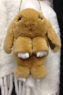 Сумка рюкзак зайка (кролик) из натурального меха. Бежевый