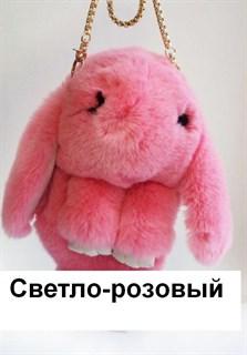 Сумка рюкзак зайка (кролик) из натурального меха. Розовый