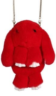 Сумка рюкзак зайка (кролик) из натурального меха. Красный