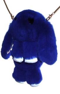 Сумка рюкзак зайка (кролик) из натурального меха. Синий