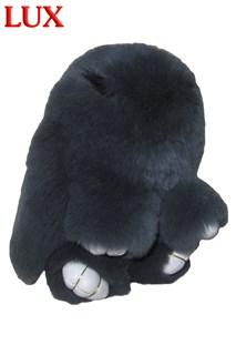 Люкс 18см. Серый. Брелок зайка (кролик) из натурального меха с ресничками