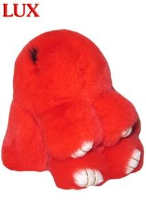 Люкс 18 см. Красный. Брелок зайка (кролик) из натурального меха с ресницами