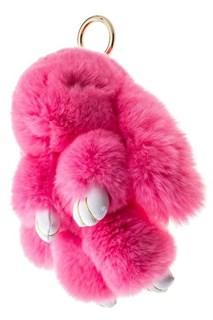 22 см. Розовый. Брелок зайка (кролик) из натурального меха