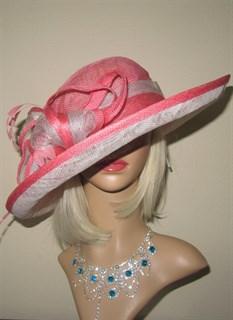 Летняя шляпа из синамей с полями. Розовая