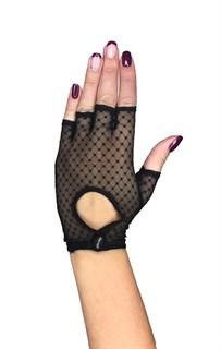 Короткие перчатки в горошек на клепке без пальцев. Черные