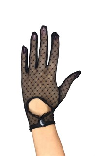 Короткие перчатки в горошек на клепке