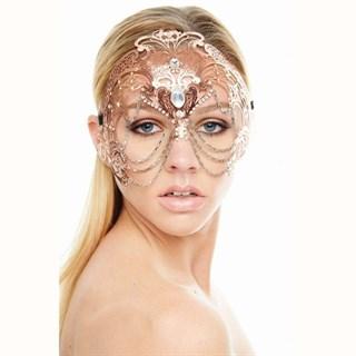 Металлическая маска на лоб розовое золото