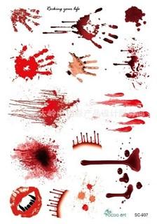 Переводное 3D тату на Хэллоуин. Кровавые следы. 10*15 см