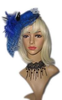 Шляпка цилиндр синяя на заколке с вуалькой в горошек