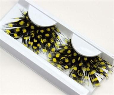 Ресницы перьевые черные в желтый горох