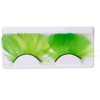 Ресницы перьевые длинные. Зеленые