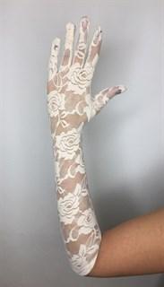 Длинные перчатки гипюр. Айвори