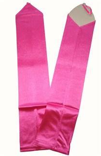 Длинные атласные перчатки на один палец. Розовые