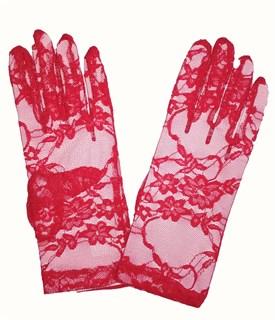 Красные короткие гипюровые перчатки