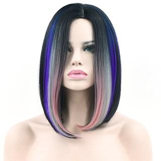 Парик каре черное с фиолетовыми прядями
