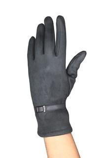 Сенсорные короткие перчатки с эфектом замши. Темно-серые