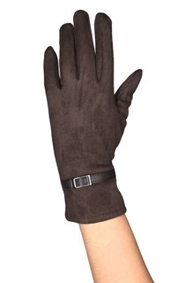 коричневые короткие сенсорные перчатки под замшу фото