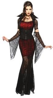 Карнавальный костюм сексапильной вампирши - полупрозрачное платье в пол