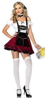 Карнавальный костюм баварской девушки с малиновой юбкой