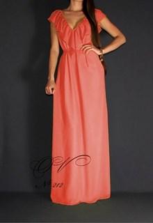Коралловое шифоновое платье в пол с воланами. 214