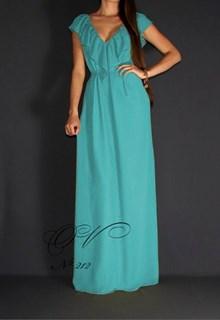 Бирюзовое шифоновое платье в пол с воланами. 212