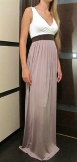Платье без рукавов с юбкой цвета мокко