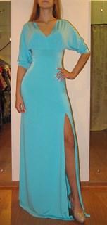 Бирюзовое платье в пол с прямой юбкой с разрезом. Летучая мышь