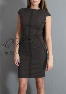 Трикотажное платье футляр темно-серого цвета. 129