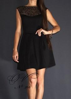 Черное платье с прозрачным декольте А-силуэт. 266