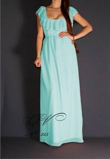 Бирюзовое платье в пол из шифона с воланами. 220