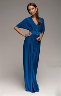 Синее платье в пол с широкими рукавами. 258