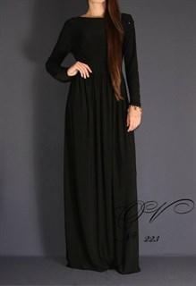 Закрытое черное платье в пол цепочками на плечах. 223