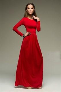 Строгое красное платье в пол прямое классическое. 222