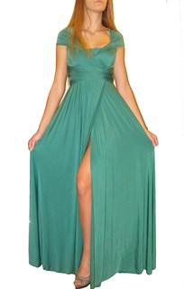 Зеленое платье трансформер с запахом