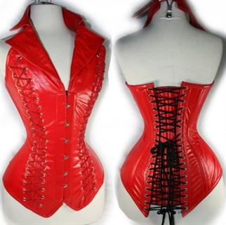 Удлиненный корсет под кожу с воротником. Красный