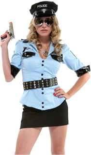 Костюм полицейского с голубой рубашкой и мини юбкой