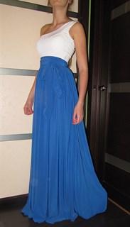 Вечернее синее платье в пол на одно плечо